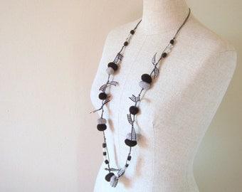 Wool Felted Pebbles Long Neckalce - 2 Ways to Wear it - Black and Grey