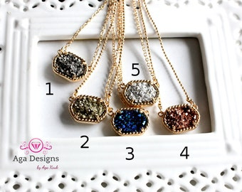 Druzy jewelry -  SALE -  Druzy NECKLACE  - rich color - pick your color