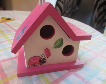 Lady Bug Flower Hand Painted Birdhouse