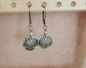 Antique Style Earrings - Lever Back - Brass on Shell - Shop Opening Special