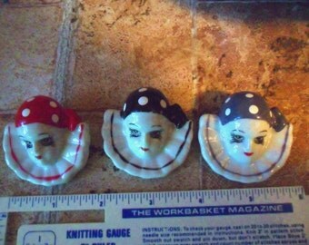 2 Vintage Pkgs 3 in Each pkg of Hand Painted Pierrot Clown Faces with pin backing