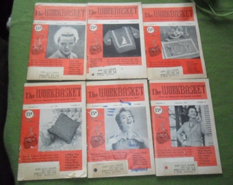 6 Vintage 1954 Workbasket Magazines - Crochet - Knit - Tatting & More