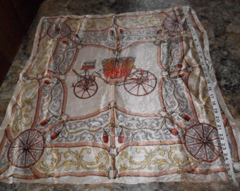 """Vintage Stage Coach Design Scarf 26"""" x 27"""" Very NICE Condition"""