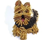 YORKIE Yorkshire Terrier beaded dog pin pendant art brooch jewelry (Made to Order) Free US Shipping