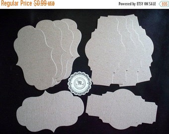 50% Vac. Sale Labels, Chipboard Labels, Chipboard Die Cuts no. 50 Vintage Styled Labels by Tim Holtz Set of 6 at Annie42 - AR Creations on E