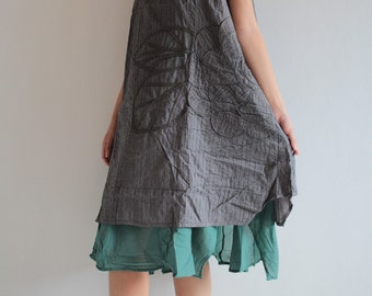 Artistic collection...Sunflower layers dress Gray/ blue teal  M,L,XL  (1160)