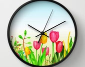 Wall Clock White Black Natural Design 16 tulips nature art painting by Lucie Dumas