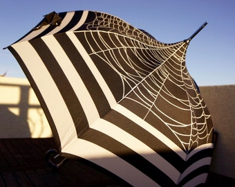 Gothic Spiderweb Pagoda Umbrella Parasol with Bold Graphic Stripes