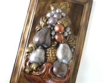 Vintage 1970's Ceramic Wall Hanging, Metallic Fruit Plaque
