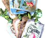 8 Christmas Gift Tags, Thank You, Teal Green Blue, Cottage Chic Vintage Floral