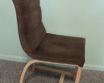 Vintage  Heywood Wakefield side chair Gilbert Rohde design Bent beechwood with brown upholstery