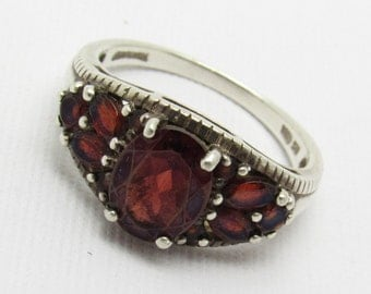 Sterling Red Ring Vintage Jewelry R7330