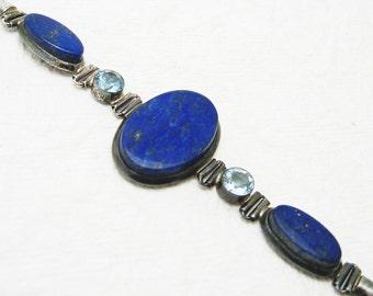 Sterling Lapis Bracelet Vintage Jewelry B6927