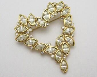 Rhinestone Heart Brooch Unique Vintage Jewelry P7133