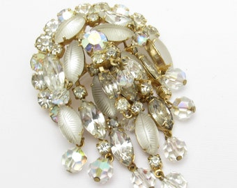 Waterfall Rhinestone Brooch Molded Glass Vintage Jewelry P7179