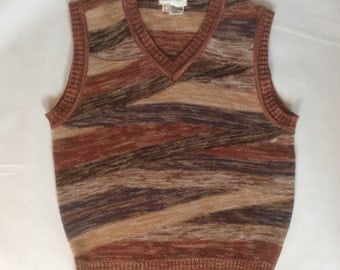 1970's space dyed sweater vest, by Collageman, vee neck, angle striped in rust, brown, black, blue, and cream, men's medium / large