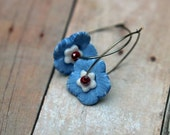 Floral Hoop Earrings  Sky Blue, Red White  Flower Petals  Polymer Clay  Silver  Summer Fashion  Gift Box