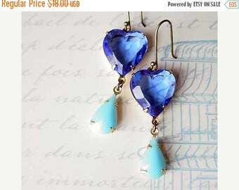 50% Off Heart Earrings, Blue Dangles - Sapphire, Aqua Blue - Valentine's - Love - Vintage Faceted Crystal - Heirloom Estate Quality - Gift B