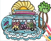 VW Surf Bus Coloring Page - Digital Download Surf Art - A Colorful World Suf & Sun by Alexine and Lori Goldwag - Beach Adult Coloring Book