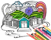 Beach Cabana Cottage Coloring Page Digital Download Surf Art - A Colorful World Suf & Sun by Alexine and Lori Goldwag - Adult Coloring Book