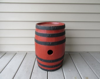 Reduced..Vintage barn red painted wood barrel with metal straps- fine condition, beautiful, weighty and solid