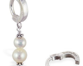 Double Pearl Snowman Dangle Charm on Sterling Silver Belly Ring by TummyToys (69004)