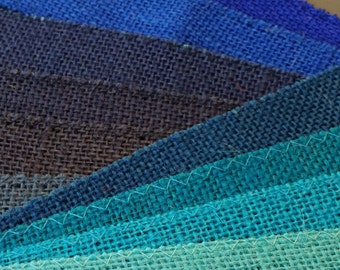 2 inch BLUE Burlap Ribbon - 3 yards