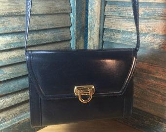 Vintage Navy Blue Leather Frenchy of California Shoulder Bag