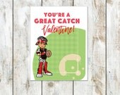 You're a Great Catch Valentine - Baseball Valentine - Catcher Valentine - Class Valentine - Printable Valentine