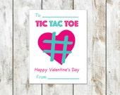 Tic Tac Toe Valentine - Game Valentine - Teacher Valentine - Class Valentine - Printable Valentine