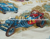 Vintage Drag Racing- Novelty Vintage Fabric Curtains Boys Cars Autos (Reserved)