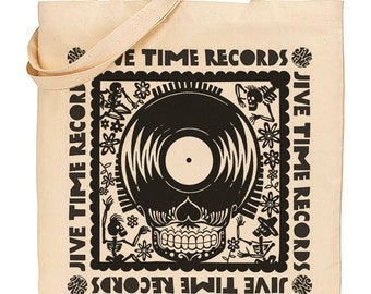 Jive Time Records Skull Canvas LP Tote Bag