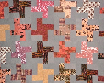 Patchwork Quilt - Queen size coral, rust and gray African Water Wheel