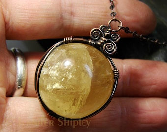 Yellow Honey Calcite Sphere Pendant Necklace: Gemstone Crystal Ball/Globe Wire-Wrapped in Nickel Free Copper, Healing Hypoallergenic Jewelry