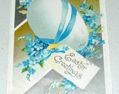 Antique Postcard Germany Easter Embossed Egg with Pale Blue Ribbon and Flowers