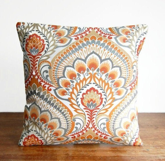 orange grey white decorative pillow cover retro by littlejoobieboo. Black Bedroom Furniture Sets. Home Design Ideas
