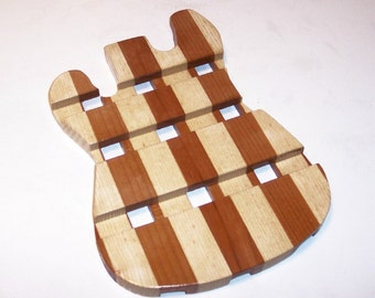 Wood Trivet in the Shape of a Guitar  Handcrafted from Mixed Hardwoods