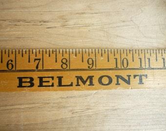 Vintage, yardstick antique, rare avertising wooden yard stick Belmont Saving & Loan Associaition, California, 1966