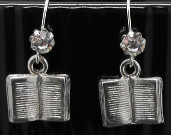 Book Earrings Rhinestone Dangle Bookish Bibliophile Literary Jewelry