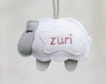 Personalized Baby's First Christmas Ornament. Plush Felt Sheep Ornament. Gray Lamb Keepsake. Handmade by OrdinaryMommy on Etsy