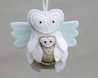 Guardian Angel Ornament Owl with Baby, Felt Christmas Ornament for Miscarriage or Loss Remembrance Gift Keepsake, Plush Ornament