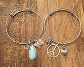 Adjustable Silver Colored Bracelet with Charms