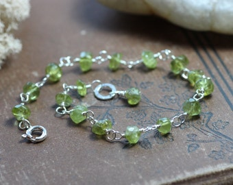 Peridot Bracelet Green Gemstone Wire Wrapped Faceted Nugget Bracelet Sterling Silver