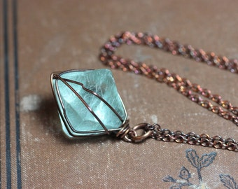 Caged Green Fluorite Octahedron Necklace Copper Wire Wrapped Mint Green Fluorite Pendant Rustic Jewelry