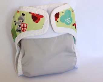 Small/newborn diaper cover/waterproof/ cloth diaper cover /wrap/ leg gussets/ velcro/dragons and knights