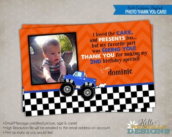 Monster Truck Photo Thank You Card, Children's Birthday Party Thank You Note, Monster Truck #B131