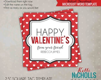 DIY Children Valentine's Day Friend Tag Template, Red with White Hearts - Instant Download
