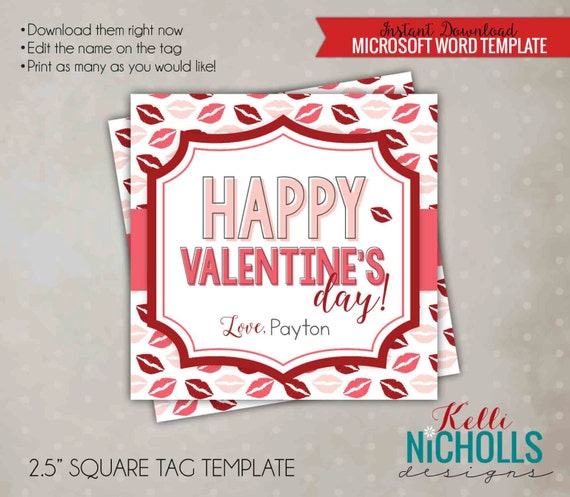 Kisses Happy Valentine's Day Gift Tag Template, Printable Lips DIY Label for Husband - Instant Download
