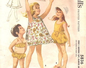 McCalls 5836 1960s Girls 2 Piece Swimsuit Dress and Romper Pattern Balloon Leg Sunsuit Childs Sewing Pattern Size 6 Breast 24