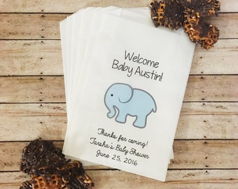 Elephant Baby Shower Treat Bags, Elephant Baby Shower, Team Blue, Baby Shower Favor Bags, Favor Bags, Gift Bags, Candy Buffet Bags, Elephant
